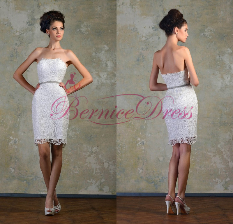 short vintage wedding dress 2014 strapless sheath knee