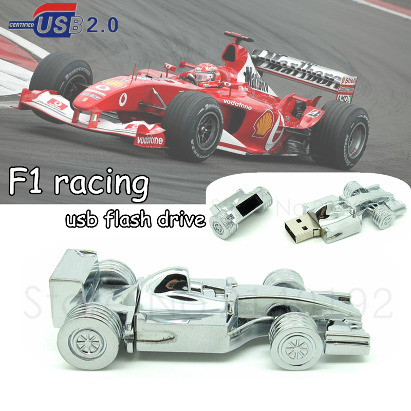new metal mini F1 Racing Car usb flash drive silver Formula car Pen drive memory stick 4g 8g 16g 32g best Computer Gift(China (Mainland))