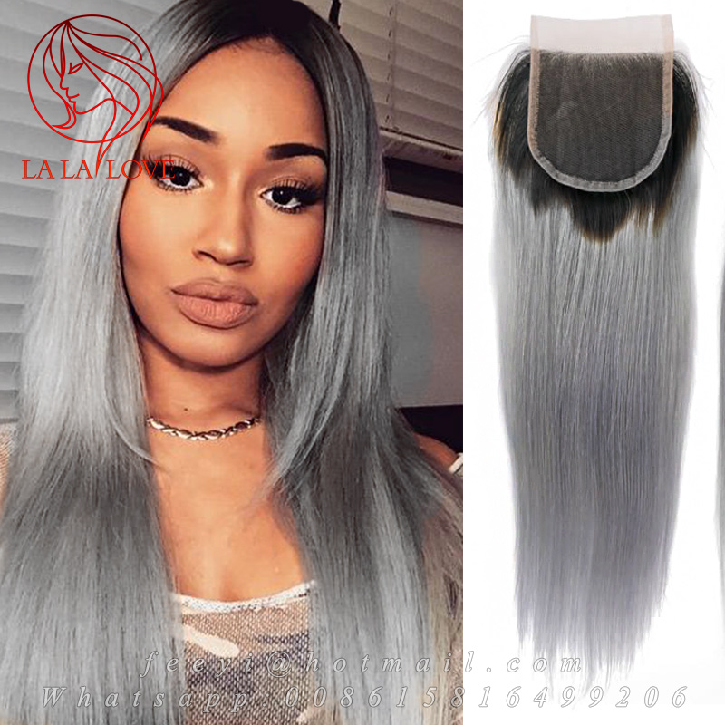 8A Grade Ombre 1B Grey Top Closure With Baby Hair Brazilian Virgin Human Real Hair Straight Free part 4*4 Lace Closure hairpiece