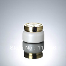 50G  white glass bottle with gold lid, glass lotion bottle, press pump bottle