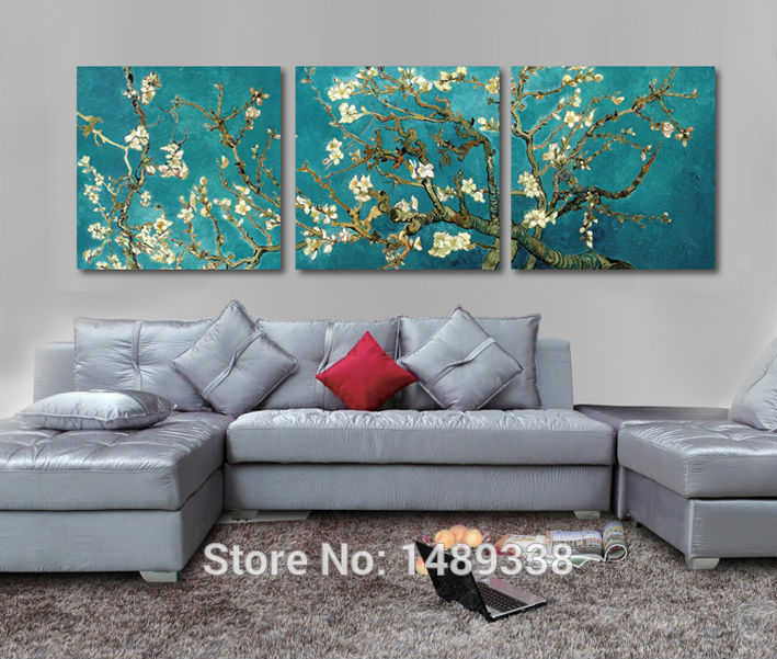 Print Painted Van Gogh Oil Painting Reproductions 3 Piece Abstract Canvas Art Almond Flower Picture Modern Wall Decor T/709(China (Mainland))