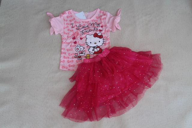 Лето дети в одежда девочки комплект милый Hello Kitty бант костюм футболки + марля пачка костюм с юбкой