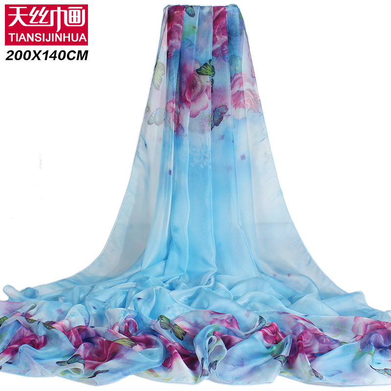 200*140cm 2017 Summer Print Silk Scarf Oversized Chiffon Scarf Women Pareo Beach Cover Up Wrap Sarong Sunscreen Long Cape Female(China (Mainland))