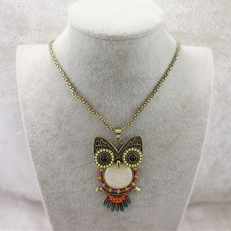 1 PCS High Quality Unisex Crystal Owl Pendant Necklaces Classic Antique Animal Long Necklace Jewelry For Women 3 Styles Gift(China (Mainland))
