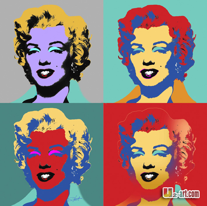 Colourful Marilyn Monroe prints on canvas cotton woman oil printing reproductin art for living room(China (Mainland))