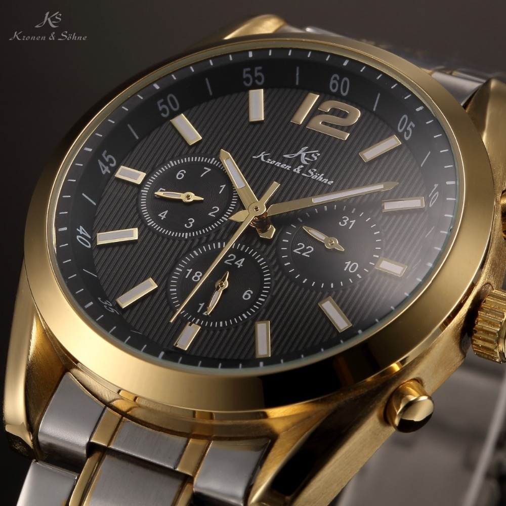 KS Black Dial Gold Case Auto Date 24 Hours Display Analog Male Automatic Mechanical Clock Men Full Steel Business Watch / KS188(China (Mainland))