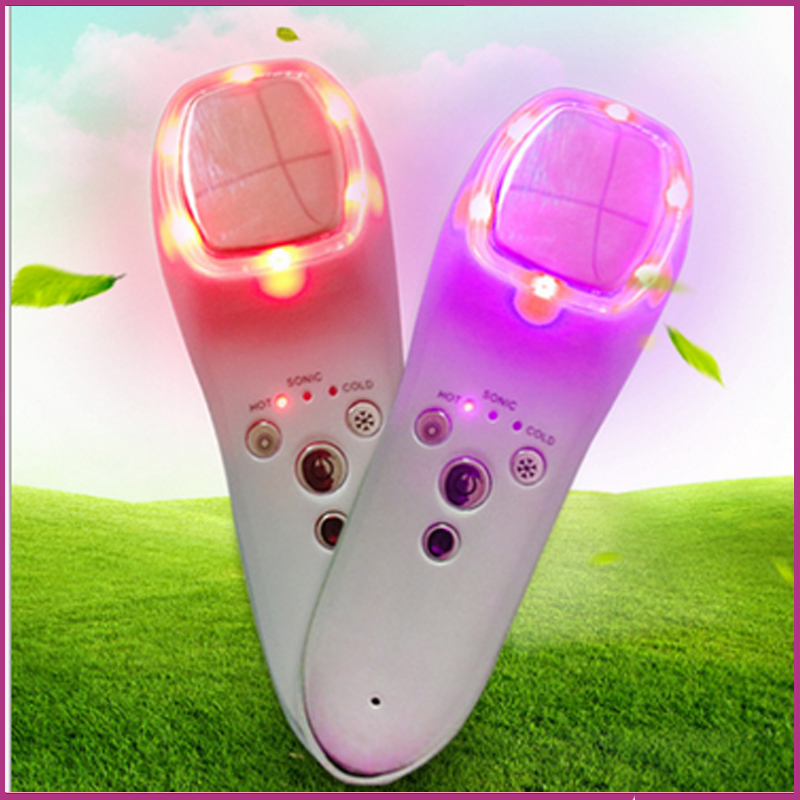 Фотография Handheld Rechargeable Hot Cold Sonic Vibration 7 Colors Led Photon Therapy Skin Renewal Beauty Devices