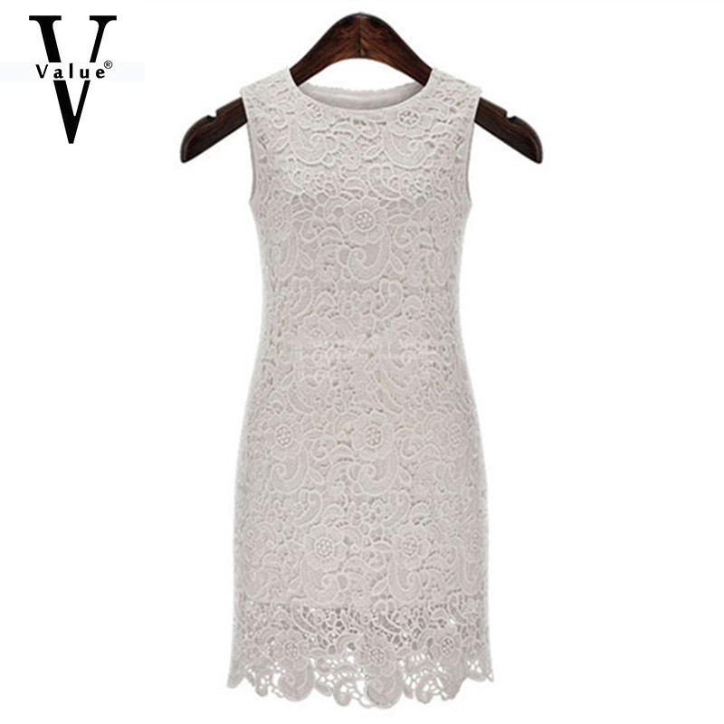 Women Dress Summer Style New 2015 White Lace Dress Vestidos Plus Size Women Clothing Fashion Tank Dress Casual Women Dress(China (Mainland))