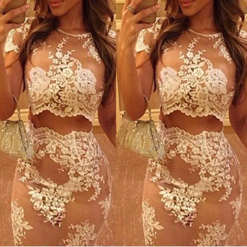 2015 new arrival summer style fashion celebrity women Lace 2 Two Piece Lace Dress White Sexy Bodybon Dress club Party dresses(China (Mainland))