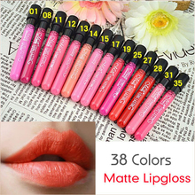 38 Colors Waterproof Long Lasting Lip Gloss Sexy Velvet Matte Smooth Make Up Lipgloss Lipstick Makeup Nude Lip Stick(China (Mainland))