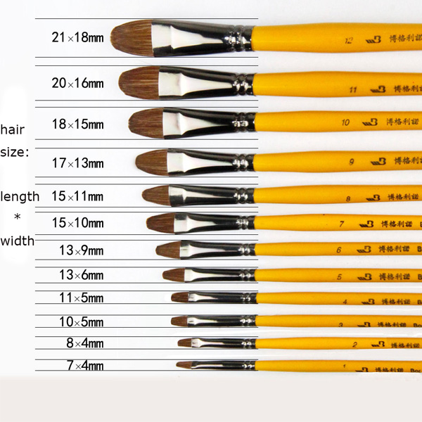 12pcs/set Artist Students Painting Brush Weasel Hair Art School Supplies Stationery Wood Handle Art Brush High Quality(China (Mainland))