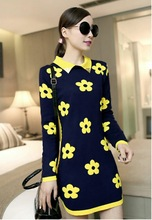 2015 Fall winter Women's new printed pullover square collar long-sleeved women sweater casual sunflowers winter dress(China (Mainland))