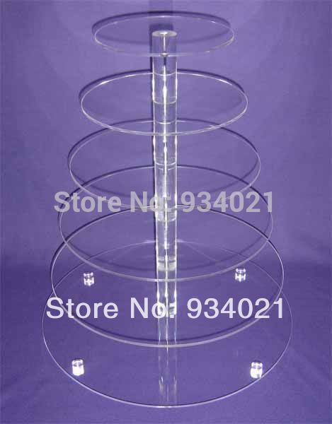 Free Shipping 6 Tier Round Acrylic Cake Stand For Wedding Perspex Cupcake Display Stand party decoration(China (Mainland))