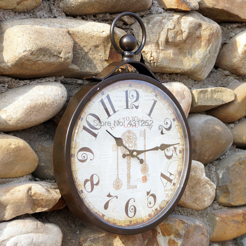 Clock picture more detailed picture about wrought iron wall clock antique r - Horloge murale vintage ...