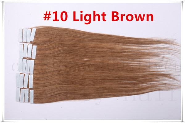 Wholesale 8AGrade 30g/40g/50g/60g/70g #10 Ash Brown Human Skin Weft Tape In Hair 100% Real Tape In Hair Extensions 20pieces<br><br>Aliexpress