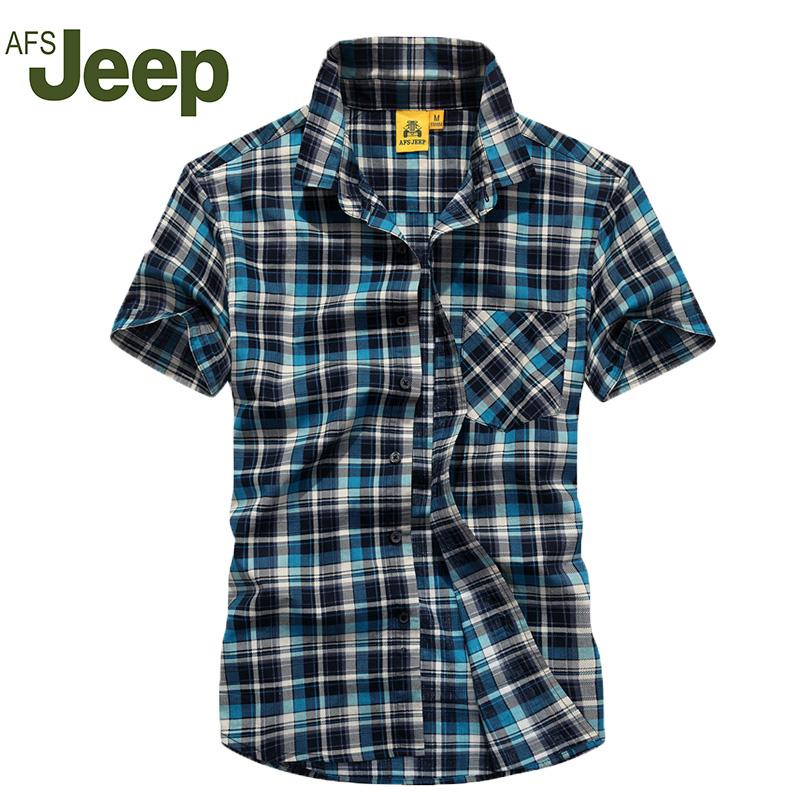 AFS JEEP 2016 Men's short-sleeved striped shirt summer new men's Slim short sleeve shirt fashion casual shirt 80(China (Mainland))