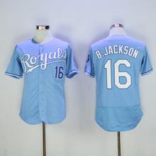 2016 Mens 16# Bo Jackson jersey Color Blue Stitched Throwback Jerseys Size M-XXXL(China (Mainland))