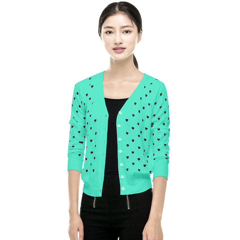 fashion women coat small love heart sweater cardigan knitted coat outwear(China (Mainland))