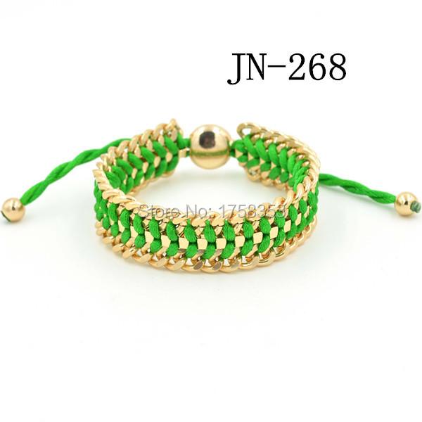 2015New fashion jewelry punk style friendship bracelet, Fluorescence line chain charm bracelets bangles green JN-268(China (Mainland))