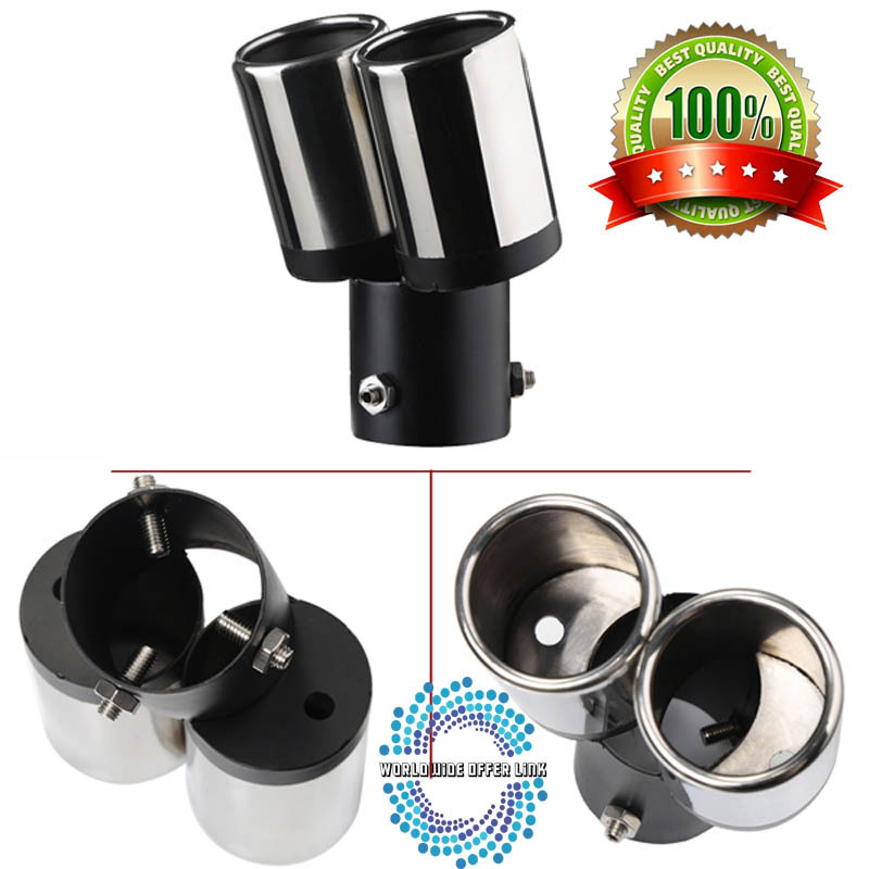 Manufactur New Design Stainless Steel Car DIY Round Dual Bolt-On Exhaust Pipes Tip Free Shipping(China (Mainland))