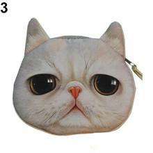 Novelty Girl 2015 Brand New Fashion Cartoon Cute Cat Face Zipper Case Coin Case Purse Wallet