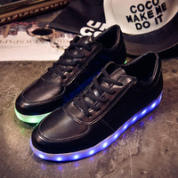 2015 New Fashion LED sneakers colorful Emitting Luminous Men Women Casual shoes Sneakers USB Charging Lights shoes