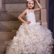 Buy White Organza Ruffles Flower Girl Dress Halter Beaded Appliques Child Ball Gown 2016 First Communion Dresses Little Girls for $98.00 in AliExpress store