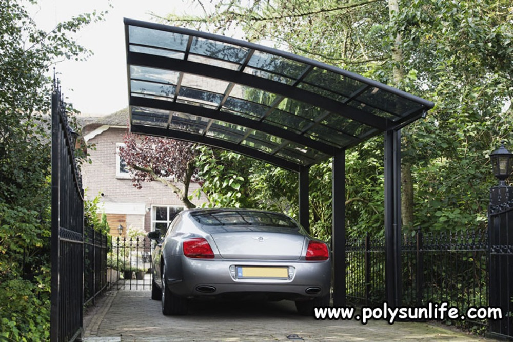 Sun life single aluminum carport with polycarbonate roof for Single garage with carport