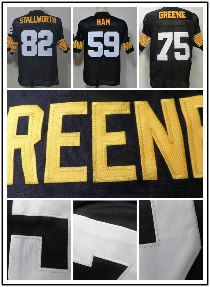 #59 Jack Ham #75 Joe Greene jersey #82 John Stallworth jersey bamerican football jersey Throwback Steelers jersey Authentic(China (Mainland))