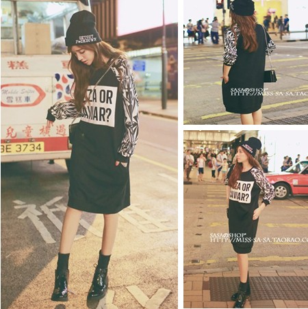 Recommendation of new fund of 2015 autumn personality letters long loose fleece couture fashion T-shirt Set head dress(China (Mainland))