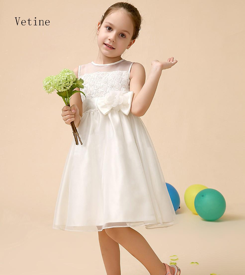 2015 evening Festival elegant ivory flower girl dresses for wedding party children V-neck Spring Summer princess dress(China (Mainland))
