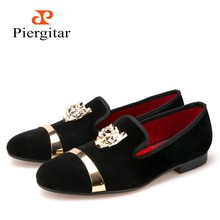 New fashion men party and wedding handmade loafers men velvet shoes with PP tiger and gold buckle men dress shoe men's flats(China (Mainland))