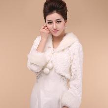 Mariée Cape à manches longues fausse fourrure de mariage Wrap ivoire veste de mariée d'hiver châle(China (Mainland))