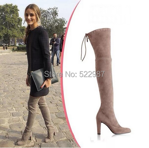 2014 Hot Selling Stretch Thigh high Boots Black/Brown/khaki Flat knee boots women slim Autumn fashion - Rose's Boutique store