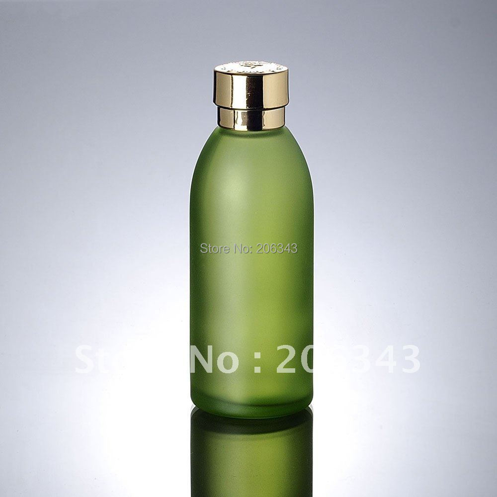 120ml green glass bottle with gold lid ,lotion bottle , Cosmetic Packaging,glass bottle(China (Mainland))