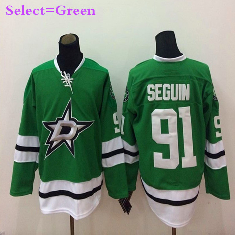 Mens #91 Tyler Seguin Green Home Throwback Embroidery Hockey Jerseys White High Quality(China (Mainland))