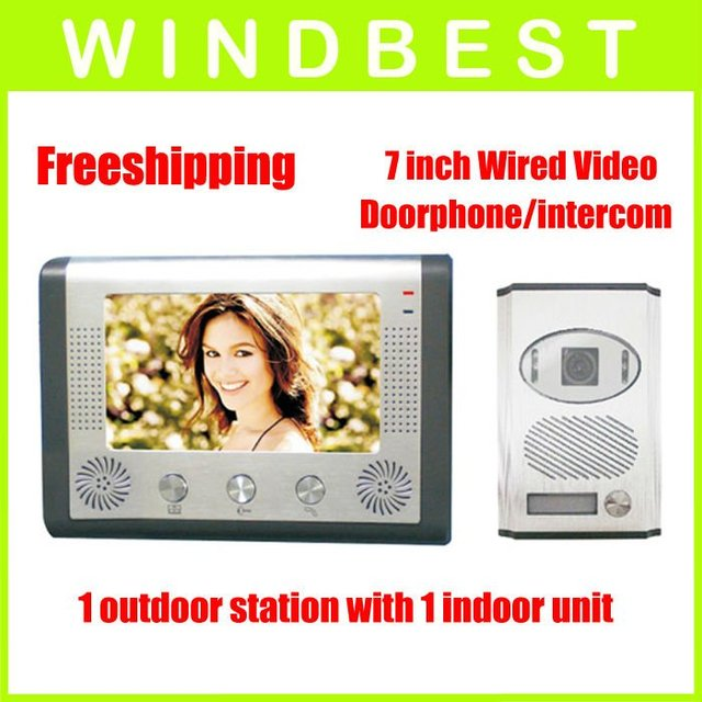 Freeshipping 7 inch audio and video doorphone/intercom,1 camera to 1 monitor, ir night vision and aluminum alloy camera 1 to 1