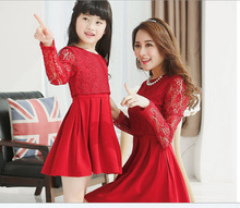 2015 summer style girl women lace dress babymmclothes mom and daughter dresses matching mother daughter clothes family look