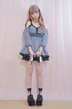 Lolita sweet Soft Slash neck black plaid cute shirts straps Lantern sleeve three quarter sleeve high waist sexy blouses(China (Mainland))