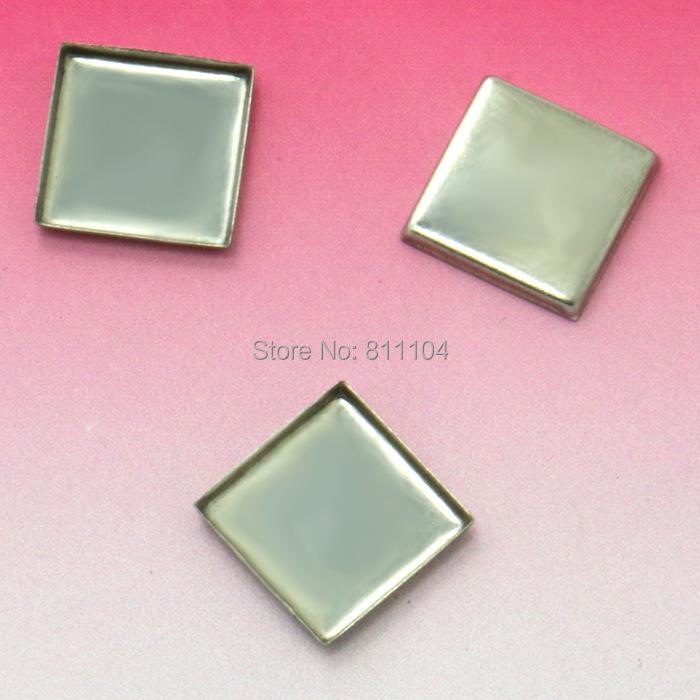 10mm Blank Stainless Steel Bases Square Bezel tray Pendant Connectors Glass Cabochon tray for Floating Charm Lockets Making(China (Mainland))