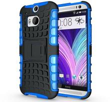 For HTC M8 Case Hybrid Hard Silicone Cover Case For HTC One 2 M8 Case Shockproof Hard Armor Cover Stand Case(China (Mainland))