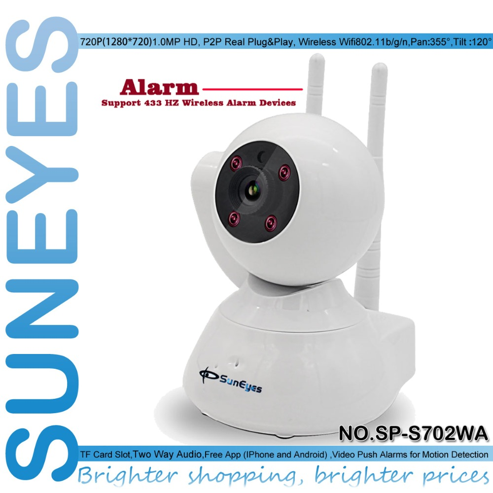 SunEyes SP-S702WA Smart Alarm IP Camera P2P Wireless with Super Two Way Audio and Two Antenna Support 433MHZ Alarm Devices(China (Mainland))