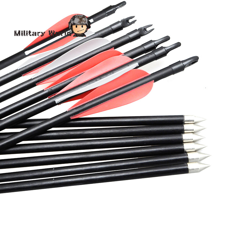12pcs/pack New Carbon 82cm Archery Arrows Changeable Arrowheads Plastic Feathers for Hunting Compound Bow Archery Sports Tool
