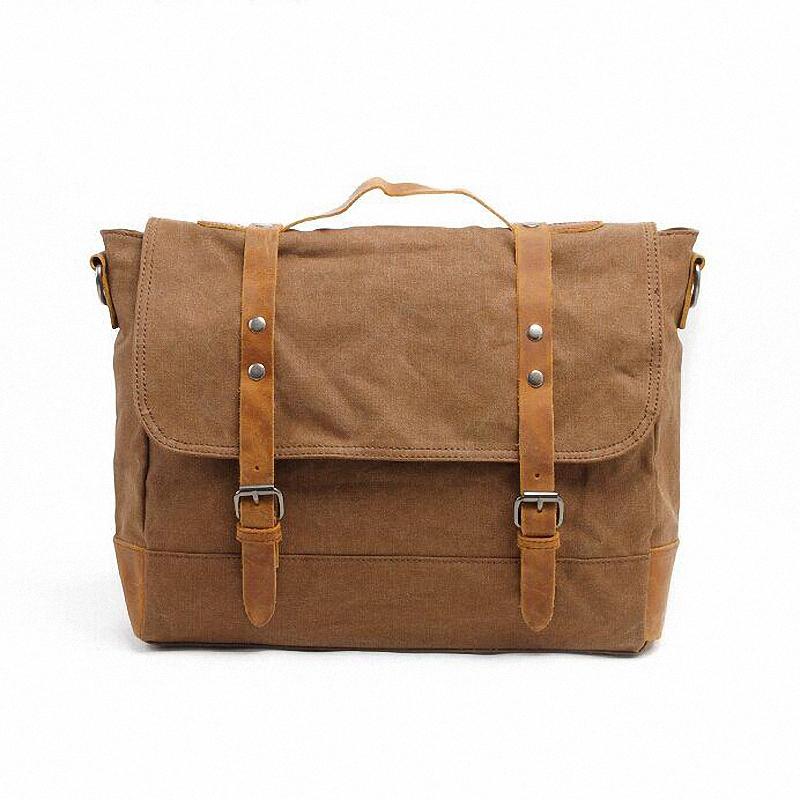 Men's Vintage Canvas genuine Leather School Military Shoulder Bag fashion leisure messenger bag men Men's Crossbody Bags LI-1204(China (Mainland))