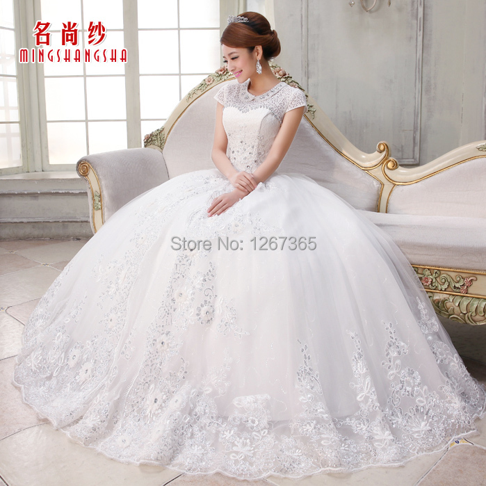 2015 hot sale winter dress bride white lace long sleeve for Winter wedding dresses for sale