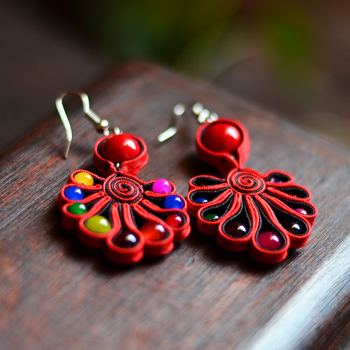 Hot National Style Jewelry Accessories Yunnan Original Handmade Earrings Vintage Statement Drop Earrings Long Red Green WZ(China (Mainland))