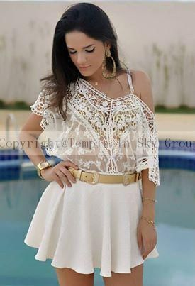 tropical spring 2015 new cropped femininas New lace Summer Batwing Loose Blouse Shirt women crochet Top roupas plus size