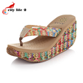 2016 Summer Bohemian Sandals Heavy Bottomed Rattan Wedged Platform Designer Shoes Women Flip Flops Chaussures Pour