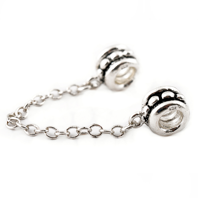 Free shipping Silver Chain Charm Safety Silver Plated Bead Fit Diy Troll Snake Chain Bracelet & Chamilia Bangles Necklace H550(China (Mainland))