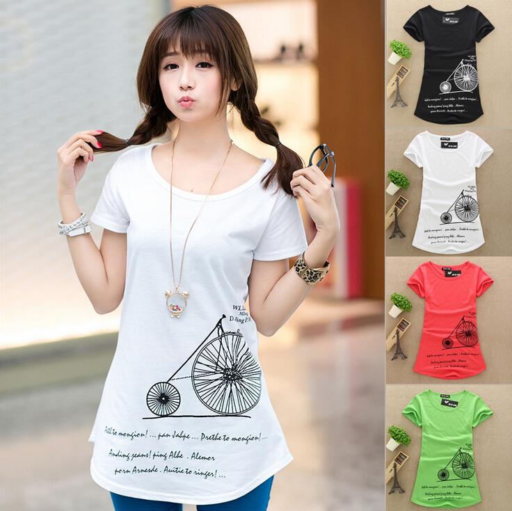 Женская одежда хлопка футболку длинные дизайн